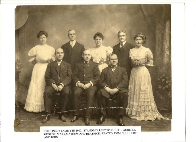 The Tinley Family in 1907. Standing left to right: Aurelia, George, Mary, Mathew, and Beatrice. Seated: Emmet, Hubert and John.